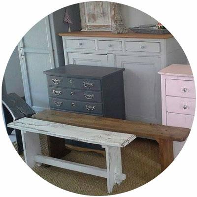 banc campagne, banc bohème, mobilier meuble rénové à saint malo