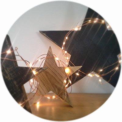 deco etoile, etoile decorative lumineuse, etoile en bois, deco scandinave, guirlande cuivre et led