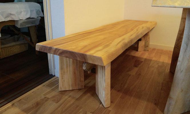 トチ ベンチ 一枚板 木
