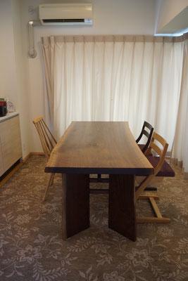 ブラックウォールナット ダイニングテーブル 一枚板