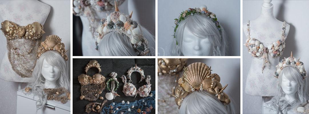 Mermaid / Meerjungfrauen Outfits - von mir angefertigt nebst passende Accessoires