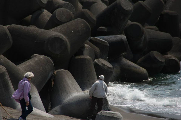 In Japan, some of the construction is amazing!  These giant concrete objects are made to prevent erosion.