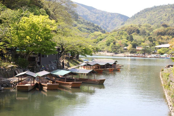 Riverboats in Kyoto.