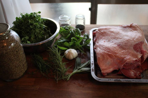 I love to cook!  This is the preparations for a Porchetta!