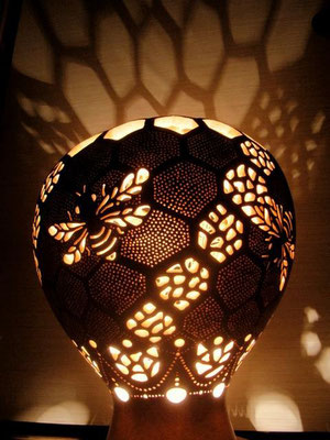 My wife make beautiful lamps out of ひょうたん!  This is a bee lamp in our living room.