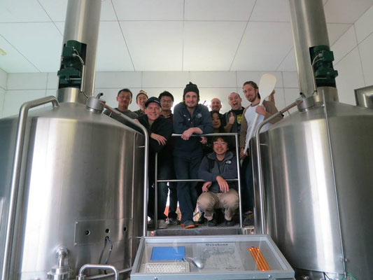 My love of craft beer goes beyond tasting it!  In this photo, I joined a group of Japanese brewers to brew with Luc Bim Lafontaine at the Ushitora brewery, in Tochigi prefecture. うしとら 栃木県