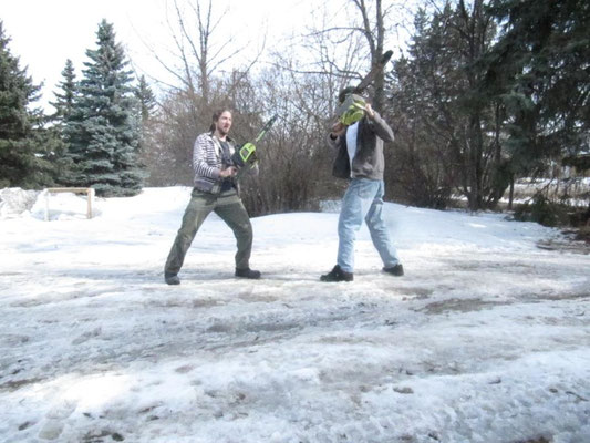 When I visit my brother in Canada, we sometimes have chainsaw battles.  No, of course not!