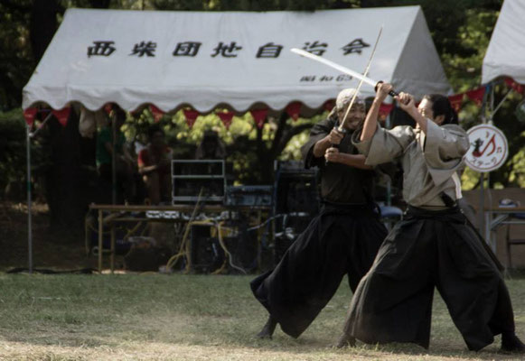 Swordplay at a festival in Kanazawa Bunko, at Uminokoen beach. 海の公園 , 金沢文庫