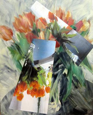 Tulpen. Acryl und Fotografie auf Leinwand. 130x170 cm.