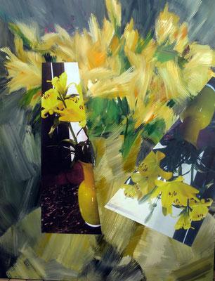 Gelbe Lilien. Acryl und Fotografie auf Leinwand. 130x170 cm.