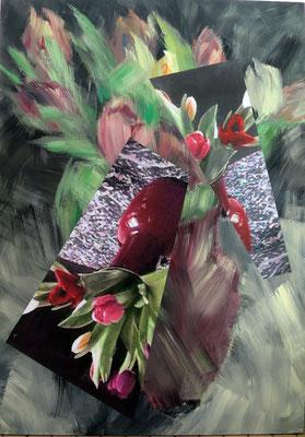 Tulpen. Acryl und Fotografie auf Leinwand. 130x180 cm.