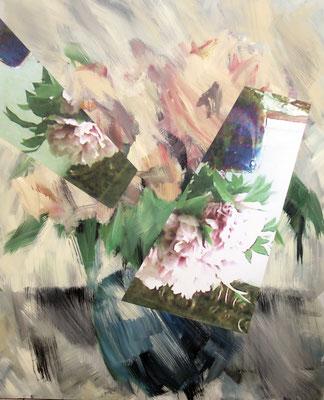 Pfingstrosen. Acryl und Fotografie auf Leinwand. 130x170 cm.