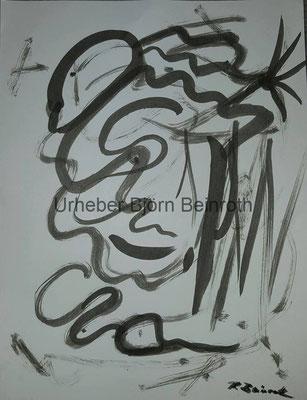 """""""Gehirnwäsche"""" Tusche mit Pinsel auf 29x18 cm Druckkarton [2016]"""