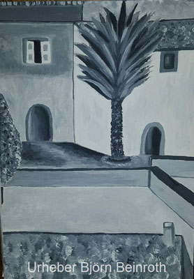 """Grey Galilea Mallorca"" (Monochrom Acryl) Aquarellblock 24x34 cm   [2015]"