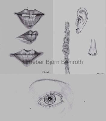 """""""Zeichnung im Wandel""""  Details  Gesichtsstudien im Skizzenbuch"""