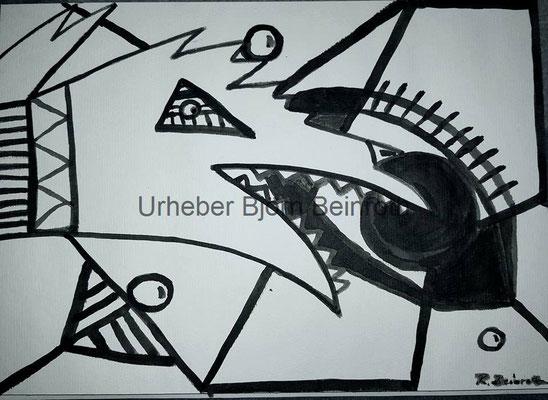 """Haushund"" Tusche mit Pinsel A4 Aquarellpapier [2016]"