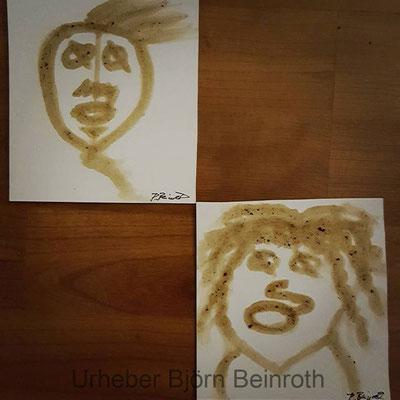 """""""Tante Kaffee und Herr Kaffeebohne"""" Kaffee auf Druckpapier   [2016]"""