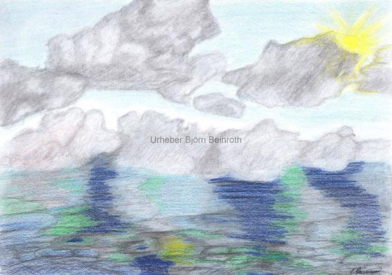 Studie Wolken und Wasser Kinderbuntstifte auf A4 Zeichenpapier