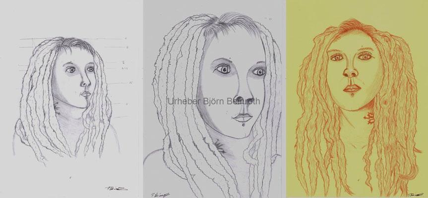 Gesichtsstudien im Skizzenbuch