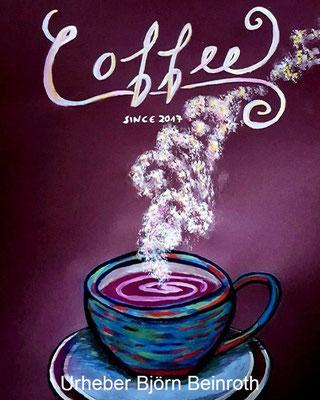 """""""Coffee since"""" Gouache auf farbigem Ingres 30x40cm   [2017]  !verkauft!"""
