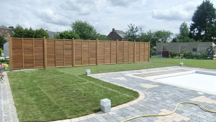 Pose de clôtures bois Collstrop par BLS jardin