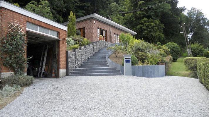 Pose de palissades en gabion par BLS jardin