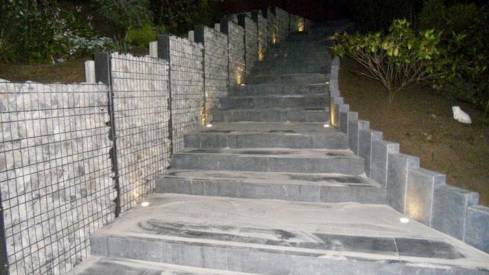 Palissades en gabion réalisées par BLS jardin