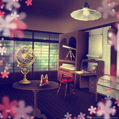 習作。立体的な部屋と家具の組み合わせなど。天球儀などはイラレの3D機能を使っています。