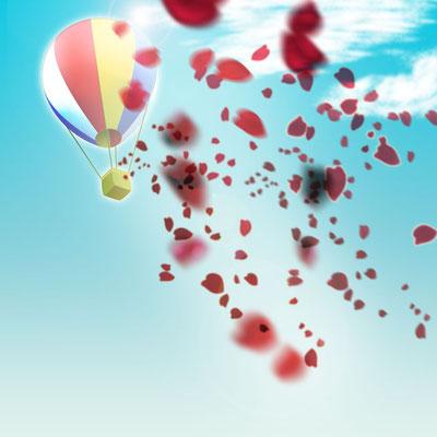 習作。気球はイラレの3D機能を使っています。