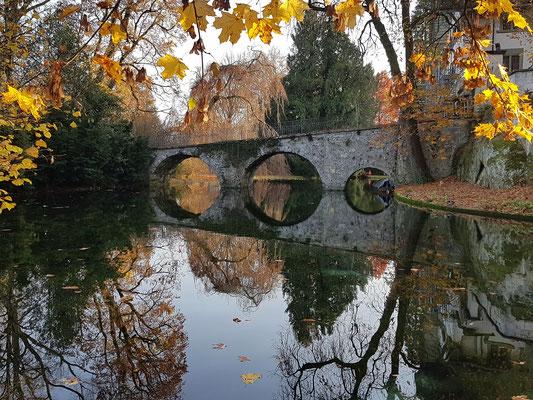 Die Brücke des Schloss Landshut im Wassergraben gespiegelt