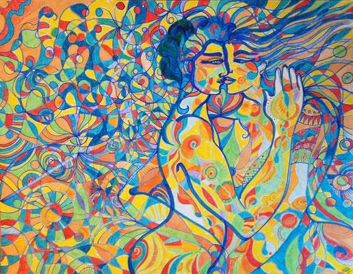 Les vitraux de l'âme . Feutres acryliques sur papier 60 sur 50cm