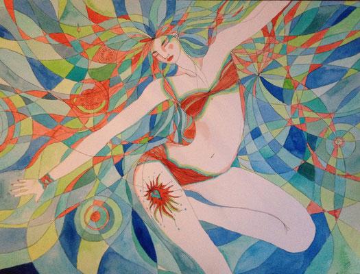 Liberté. Aquarelle et Feutres - 61 cm sur 46 cm