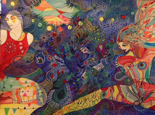 Forêt amazone . Aquarelle et feutres - 61 cm sur 46 cm - vendu