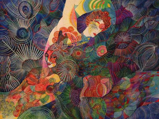 Amour oriental. Aquarelle et feutres - 61 cm sur 46 cm