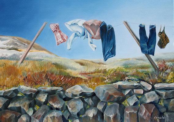Wäscheleine Irland 50x70cm Ölfarbe auf Leinwand 2012