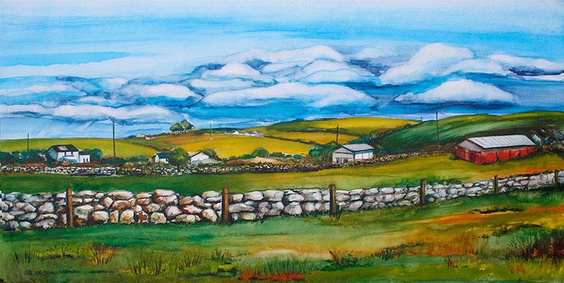 Steinmauer in Irland 40x80 Aquarell auf Leinwand 2012