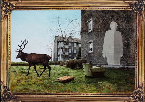 Abschied 50x70cm Collage und Malerei 2014