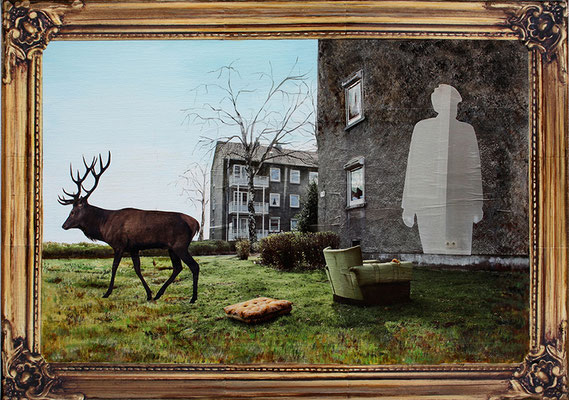 Abschied 50x70cm Collage mit Acrylmalerei 2014