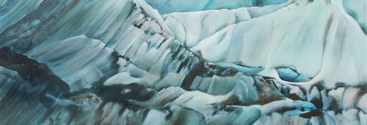 Gletscherland  50x150cm  Ölfarbe auf Leinwand cm 2016