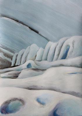 Frozen1 70x50cm Ölfarbe auf Papier 2014