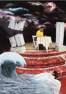 Imagination 70x50cm Collage mit Acrylmalerei 2014