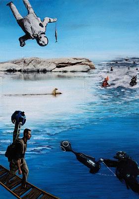 Eisbär 70x50cm Collage mit Acrylmalerei 2014