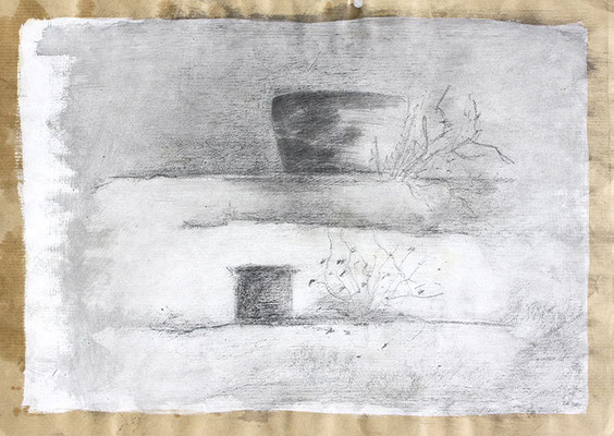 An der Mauer 65x50cm Mischtechnik auf Kraftpapier 2015