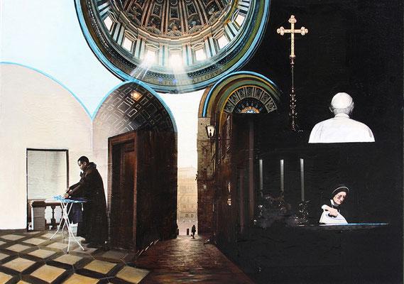 Schadensbegrenzung 50x70cm Collage mit Acrylmalerei 2014