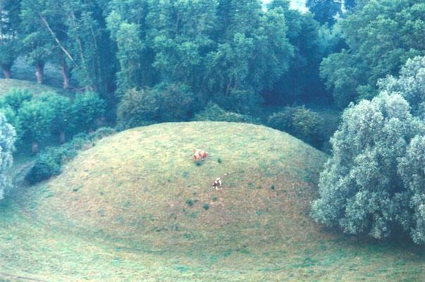 Vue aérienne de la motte d'Ochtezeele en été