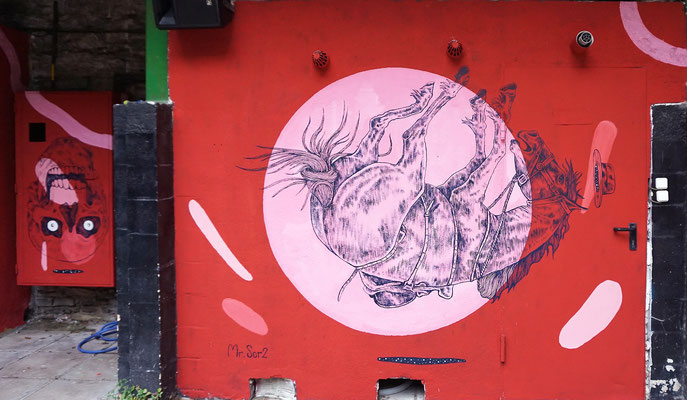 Wall painted for B.E.T Electronic Festival. Bergara (Spain). 2017.