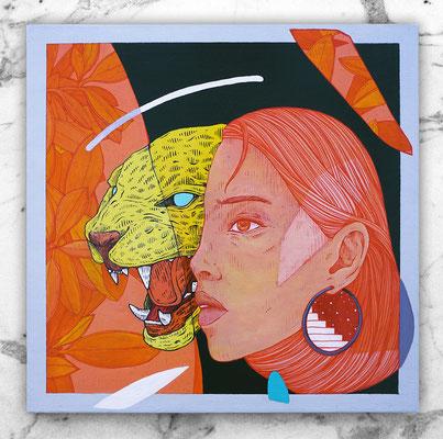 SHE. 40 X 40 cm. Acrylic on wood. Canvas for HYBRID ART FAIR with ARTEUPARTE gallery.