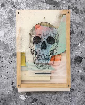 Kalaka 1. collab with Xabier Anunzibai. Acrylic on wood, methacrylate and sandpaper composition.  29x19.