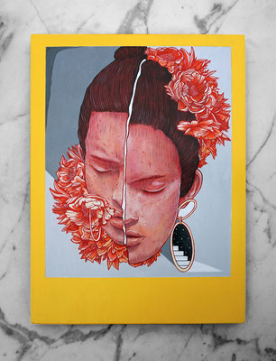 LOLA. 40x29,5 cm.  Acrylic on wood. Canvas for HYBRID ART FAIR with ARTEUPARTE gallery.