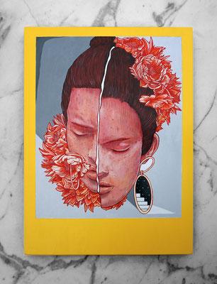 LOLA. 40x29,5 cm.  Acrylic on wood. Canvas for HYBRID ART FAIR with ARTEUPARTE gallery.